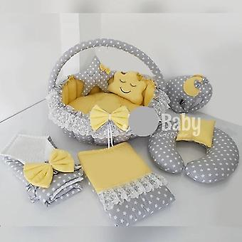 Gray Star Solid Color Yellow Baby Bedding Set, Swaddle, Breastfeeding Pillow,