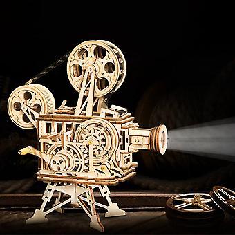 Diy 3D film projektori puu malli rakennussarja kokoonpano vitaskooppi lelu