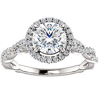 1 1/3ct الماس هالة متشابكة خاتم الخطوبة 14k الذهب الأبيض