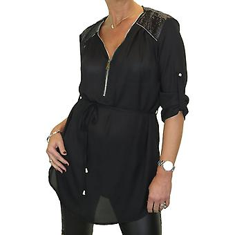 Women's Zip V Neck Loose Blouse Shirt Ladies Belted Smart Casual 3/4 Sleeve Work Tunic Top 8-16