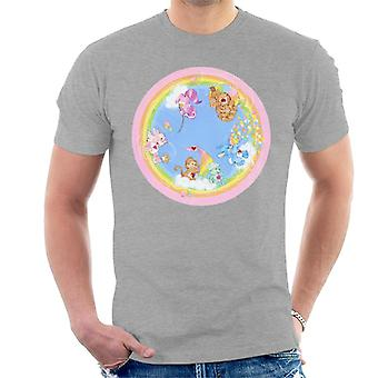 Care Bears Leikkisä Sydän Monkey Rainbow Cloud Boat Men's T-paita