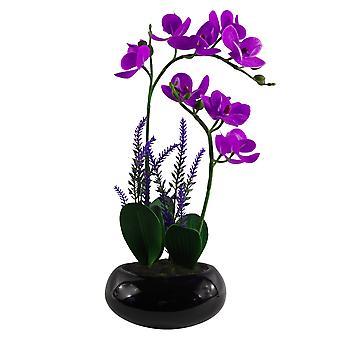 Orquídea artificial de 38 cm en plantadora de cuenco de cerámica negra