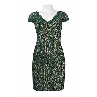 V-hals korte mouwen rits rug bloemen kant jurk