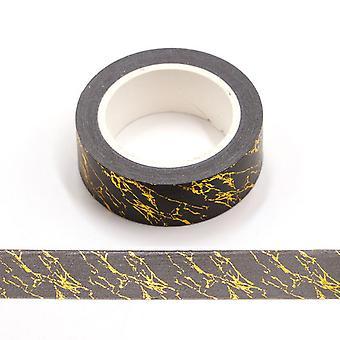 الأسود والذهبي احباط الرخام طباعة الزخرفية الشريط لاصق الذاتي 15mm × 10m