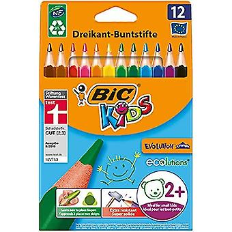 Bic kids evolution triangle ecolutions colouring pencils - assorted colours, wallet of 12 wallet x 1