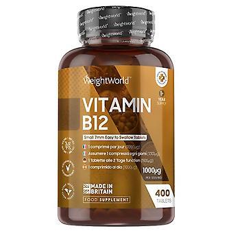 WeightWorld Vitamin B12 - 1000mcg 400 Tablets - High potent Methylcobalamin (1+ Year Supply)
