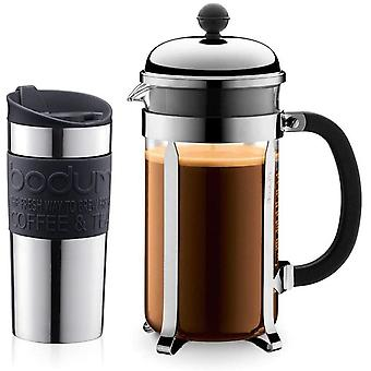 Bodum Chambord Coffee Set with Cafetiere and Travel Mug - Giftpack