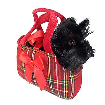 Children's black Scotty Dog in a cute red bag