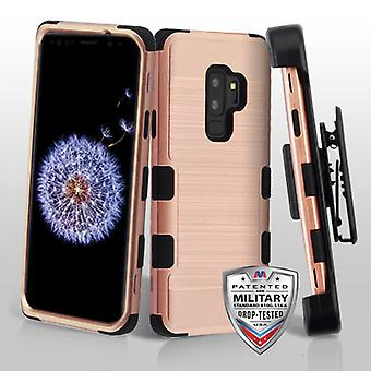MYBAT Rose Gold Brushed/Black TUFF Hybrid Phone Protector Cover(w/ Holster) for Galaxy S9 Plus