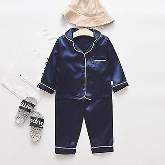 Two Pieces Long Sleeve Solid Tops+pants Pajamas- Sleepwear