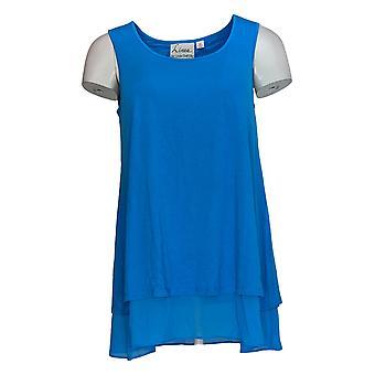 Linea por Louis Dell'Olio Women's Top Mixed Media Swing Top Blue A306341