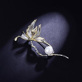 Classic Freshwater Pearl Flower Brooches Female Tulip Silver Color Pin
