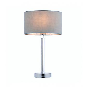 Owen Ellipse Table Lamp In Steel, Chrome Plate And Gray Fabric