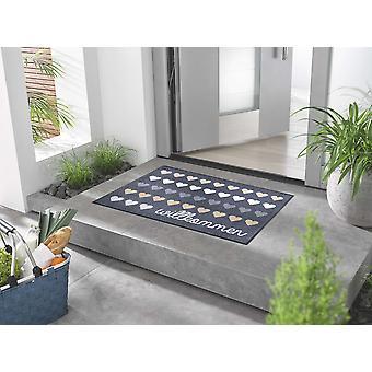 Tvättbar dörrmatta tvätt +torr Välkommen Hjärtan 60 x 85 cm