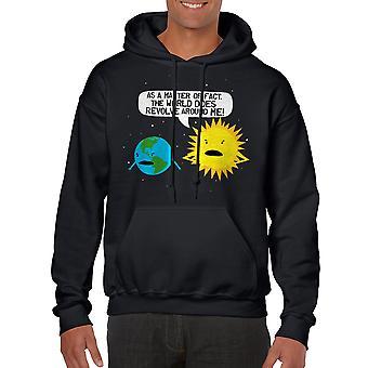 Mundo humor gira en negro con capucha de hombres