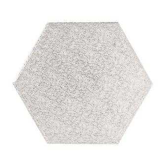 """12"""" (304mm) Cake Board Hexagonal Silver Fern - single"""