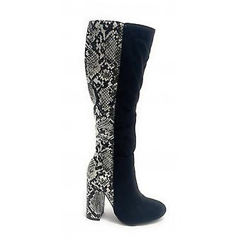 Women's Shoes Gold&gold Boot Tc 95 In Ecopelle Black Suede/ Python Print D20gg21