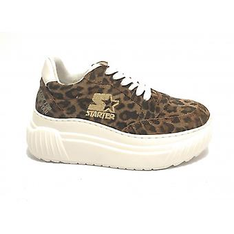 Women's Sneaker Starter Wedge Bottom In Suede Leopard Print D20st01