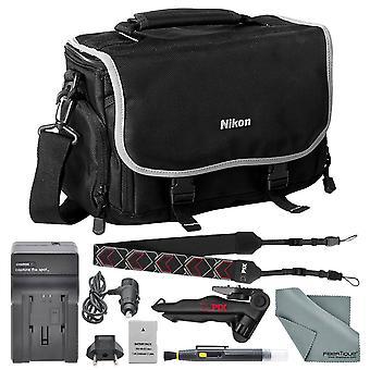 Nikon kompakt siffra slr tillbehör väska + en el 14a ersättningsbatteri för d3100, d3200, d3300, d3400,d5300, d5500, d5600 och ps42803