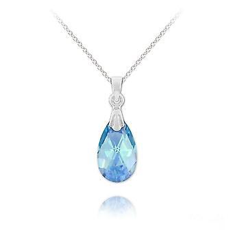 Pear-shaped silver swarovski crystal  pendant necklace