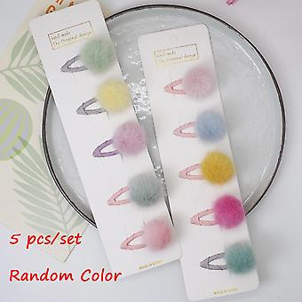 5pcs Lovely Pom Pom Hair Pins With Small Soft Fur Mini Ball Gripper
