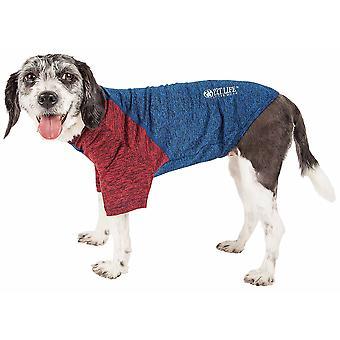 Haustier Leben aktiv 'Hybreed' 4-Wege-Stretch zweifarbige Performance Hund T-Shirt, blau W / Maroon Ärmel - groß