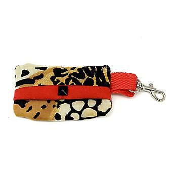 Leopard Dog Waste Bag Holder With Red Suede Lining