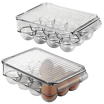 mDesign Plastic Stackable Egg Tray Holder Container, 12 Eggs, 2 Pack - Gray
