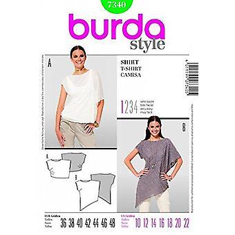 Burda Ladies Sömnad Mönster 7340 - Lös T-Shirt Toppar Storlekar: 10-22