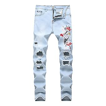 Mile Men's Stretch Jeans, Embroidered Style Slim Pants, Breathable, Comfortable, Simple And Versatile