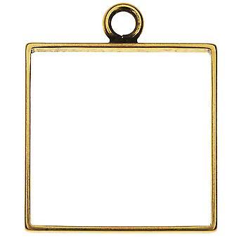 Final Sale - Open Back Bezel Pendant, Square 25.5x30.5mm, 1 Piece, Antiqued Gold, by Nunn Design