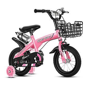 Barncykel med flashträningshjul, pojkar och flickor cyklar 12 14 16 18 tum för åldrarna 2 år och uppåt, vit rosa grön orange