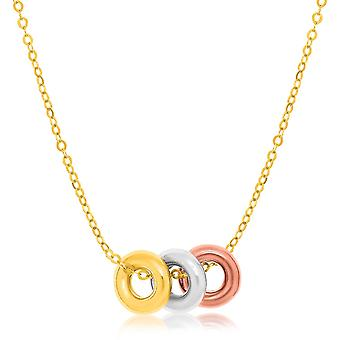 14k Tri-Color Gold Chain Necklace with Three Open Circle Accents Tri color gold 18