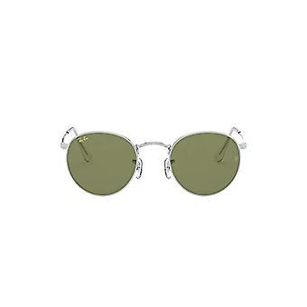 Ray-Ban Round Metal Dark Lenses, Botella De Plata/Green, 53 Unisex-Adult
