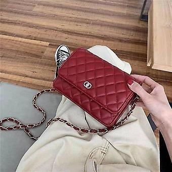Nahka olkalaukku naisille Ylellinen Crossbody Bag Ladie Design Muoti Käsilaukku ja Kukkarot (Punainen)