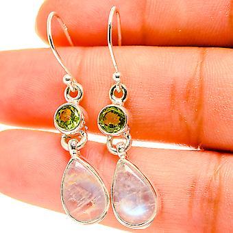 """Rainbow Moonstone, Peridot Earrings 1 1/2"""" (925 Sterling Silver)  - Handmade Boho Vintage Jewelry EARR417142"""