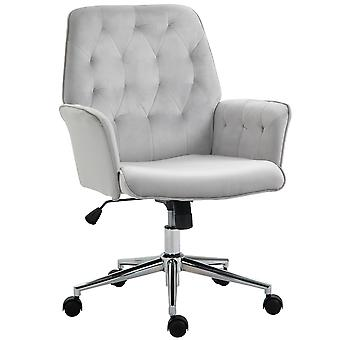 Vinsetto Velvet-Feel Fabric Office Swivel Chair Mid Back Computer Desk Chair with Adjustable Seat, Arm - Light Grey