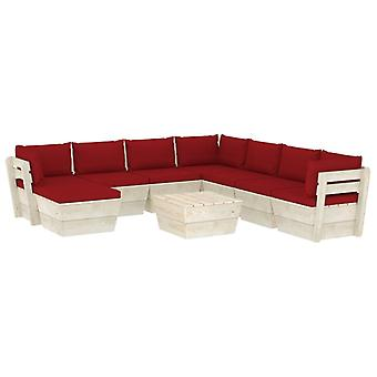 vidaXL 9-tlg. Garten-Sofagarnitur aus Paletten mit Kissen Fichtenholz
