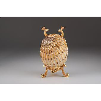 Jewelry holders peacocks faberge egg trinket box