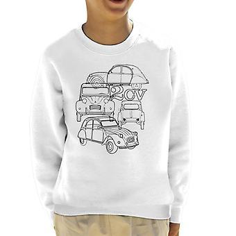 Citroen 2CV Svart vinkel Montage Kid's Sweatshirt