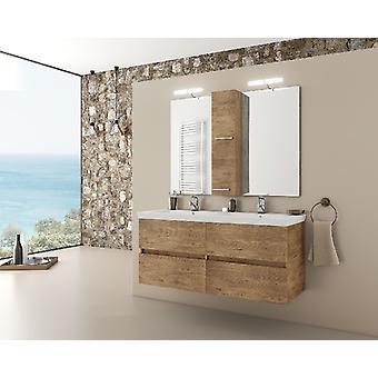 Set Mobili Luxus , Colore legno, Bianco in MDF, Ceramica, LPB, Vetro, Alluminio, ABS, Unita' Base con Lavabo: L120xP40xA50 cm