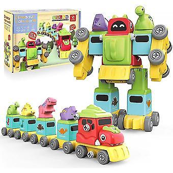 Robot Stem Legetøj til børn med Byggeri Train Dinosaur Legetøj-77pcs