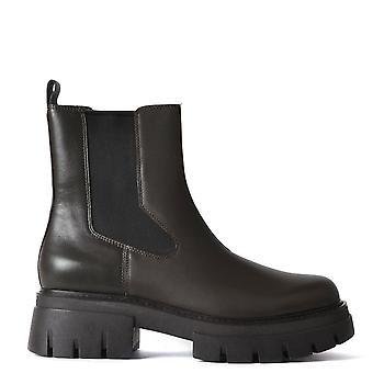 الرماد ليني الأحذية كاكي براون الجلود