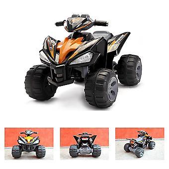 Lasten sähköinen quad oranssi 2x 12 V sähkömoottorit, musiikkitoiminto ja torvi