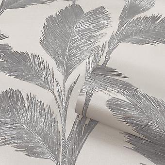 Alessia Leaf Silver Grey Wallpaper