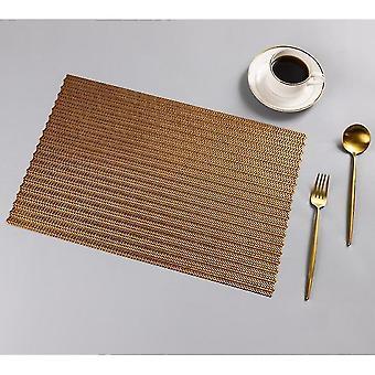 Placemats washable woven vinyl non-slip heat resistant placemat 30x45cm bronze
