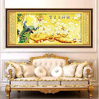 Peinture de diamant Point de diamant 5d Richesse et salon auspacious Rond Diamant Pâte De croix Paon Magnolia Denudata