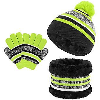3-in-1 Warmer Hut Schal Kinder Rosa Handschuh Anzug Winter Dick Warme Fleece Gestrickt Hut Schal Und Handschuh Tasche Für Jungen Und Mädchen