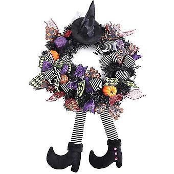 سوفيرن هالوين ساحرة إكليل الزهور الباب الأمامي الديكور شنقا الحلي الحزب مع الساقين اليقطين