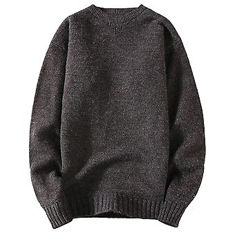 Yunyun Men's Solid Color Round Neck Casual Warm Knit Slim Fit Stylish Sweater
